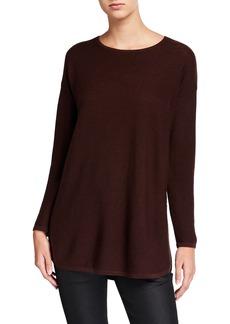 Eileen Fisher Merino Wool Crewneck Curved-Hem Links Tunic Sweater