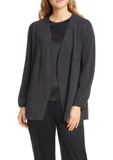 Eileen Fisher Metallic Detail Wool Blend Open Cardigan