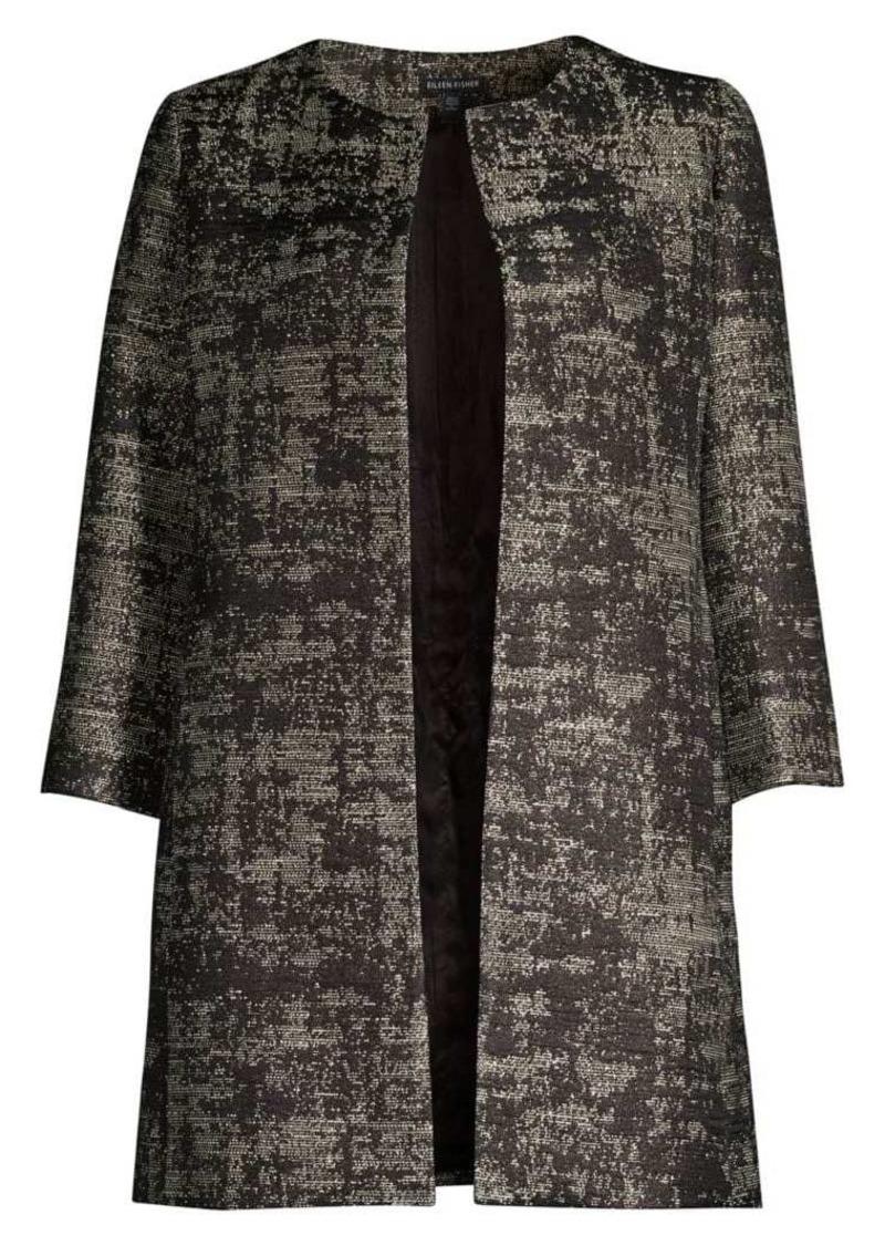 Eileen Fisher Metallic Jacquard Open-Front Topper Coat