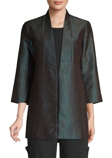 Eileen Fisher Metallic Jacquard Shawl Collar Jacket