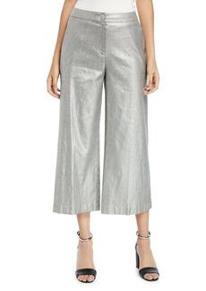 Eileen Fisher Metallic Wide-Leg Cropped Linen-Cotton Pants
