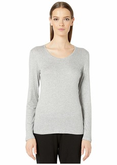 Eileen Fisher Micro Tencel Rib Stretch U-Neck Slim Top