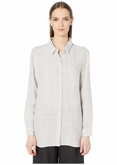 Eileen Fisher Mini Stripe Organic Handkerchief Linen Classic Collar Shirt