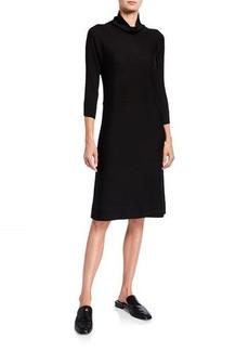 Eileen Fisher Mock-Neck 3/4-Sleeve Wool Jersey Dress