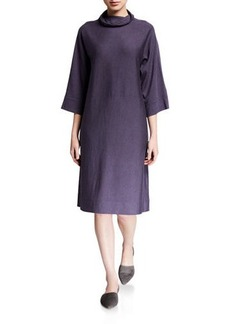 Eileen Fisher Mock-Neck 3/4-Sleeve Wool Jersey Dress