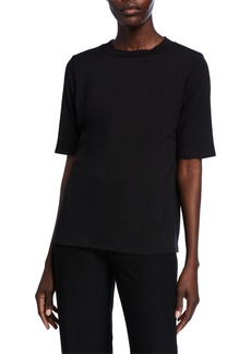 Eileen Fisher Mock-Neck Elbow-Sleeve Jersey Top