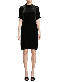 Eileen Fisher Petite Mock-Neck Short-Sleeve Tieback Velvet Shift Dress