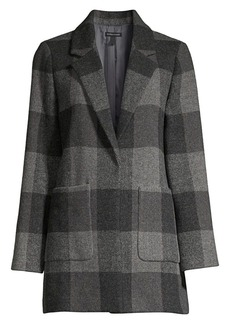 Eileen Fisher Multi-Check Wool-Blend Coat