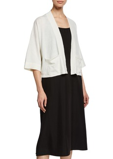 Eileen Fisher Open-Front 3/4-Sleeve Short Cardigan with Pockets