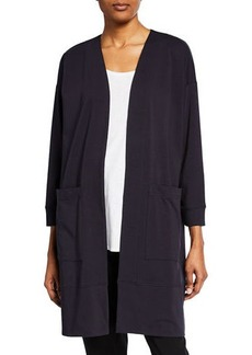 Eileen Fisher Open-Front Bracelet-Sleeve Jersey Cotton Jacket