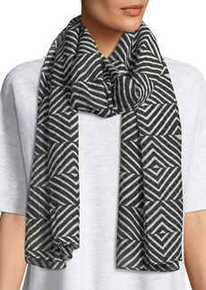 Eileen Fisher Optical Squares Silk-Cotton Scarf