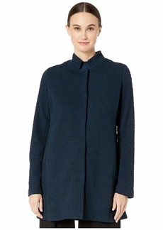 Eileen Fisher Organic Cotton & Tencel Pucker Stand Collar Long Jacket