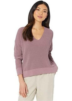 Eileen Fisher Organic Cotton Cord V-Neck Box-Top