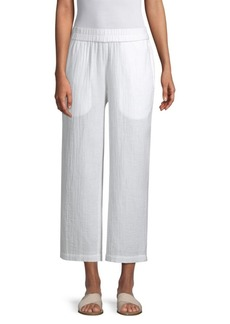 Eileen Fisher Organic Cotton Gauze Straight Leg Pant