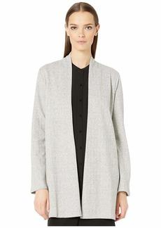 Eileen Fisher Organic Cotton Herringbone Long Sleeve Jacket w/ Side Slits