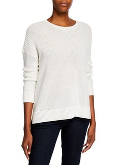 Eileen Fisher Organic Cotton Jewel-Neck Long-Sleeve Sweater