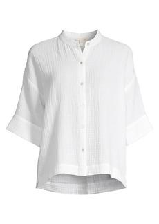 Eileen Fisher Organic Cotton Mandarin-Collar Boxy Shirt