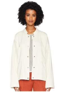 Eileen Fisher Organic Cotton Mandarin Collar Oversized Short Jacket