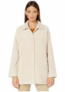 Eileen Fisher Organic Cotton Plush Corduroy Classic Collar Short Coat