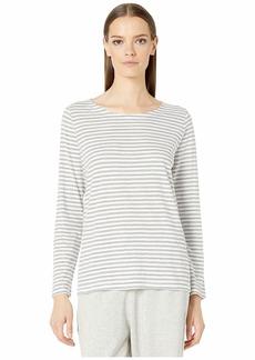 Eileen Fisher Organic Cotton Slub Stripe Jewel Neck Box-Top