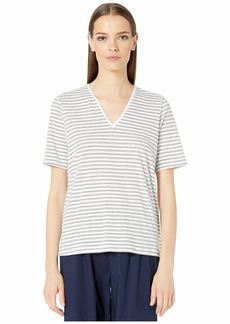 Eileen Fisher Organic Cotton Slub Stripe V-Neck Short Sleeve Top