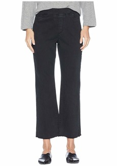Eileen Fisher Organic Cotton Stretch Denim Ankle Pull-On Jeans w/ Raw Edge in Washed Black