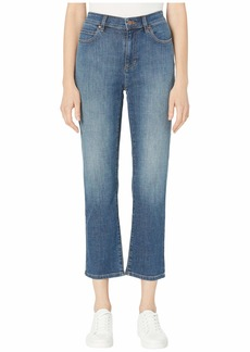 Eileen Fisher Organic Cotton Stretch Denim High-Waisted Straight Ankle in Aged Indigo