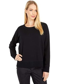 Eileen Fisher Organic Cotton Stretch Jersey Crew Neck Top Hi-Low Top