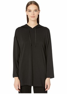 Eileen Fisher Organic Cotton Stretch Jersey Hooded Long Box-Top
