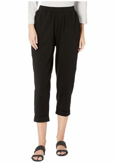 Eileen Fisher Organic Cotton Stretch Jersey Slouchy Cropped Pants w/ Faux Cuff