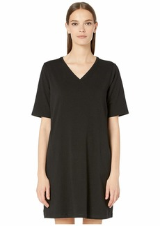 Eileen Fisher Organic Cotton Stretch Jersey V-Neck 3/4 Sleeve A-Line Dress