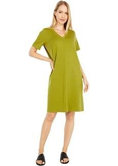Eileen Fisher Organic Cotton Stretch Jersey V-Neck Short Sleeve Dress