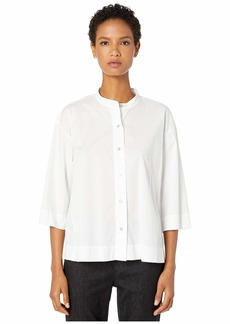 Eileen Fisher Organic Cotton Stretch Lawn Stand Collar Shirt