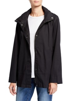 Eileen Fisher Organic Cotton Twill A-Line Coat w/ Removable Hood