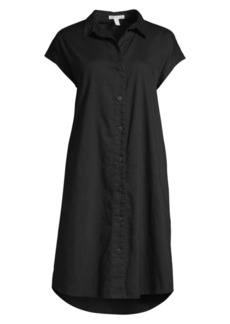 Eileen Fisher Organic Cotton Twill Cap Sleeve Shirtdress