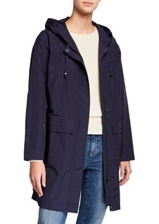 Eileen Fisher Organic Cotton/Nylon Hooded Long Jacket