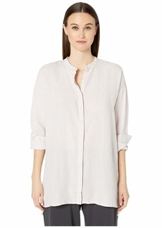Eileen Fisher Organic Handkerchief Linen Mandarin Collar Boxy Shirt