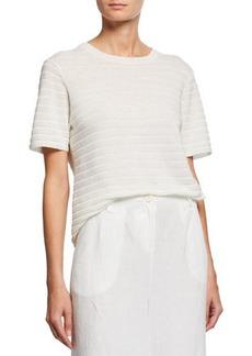 Eileen Fisher Organic Linen & Cotton Crewneck Short-Sleeve Textured Sweater