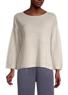 Eileen Fisher Organic Linen-Blend Drop-Shoulder Sweater