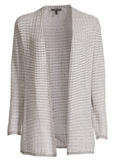 Eileen Fisher Organic Linen Blend Striped Cardigan Sweater