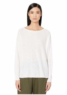 Eileen Fisher Organic Linen Cotton Bateau Neck Box-Top