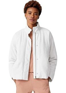 Eileen Fisher Organic Linen Cotton Crepe High Collar Padded Short Coat