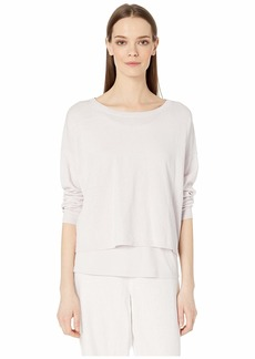 Eileen Fisher Organic Linen Crepe Stretch Jewel Neck Box-Top