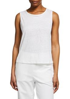 Eileen Fisher Organic Linen Jersey Round-Neck Shell