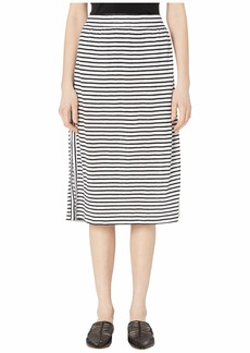 Eileen Fisher Organic Linen Jersey Stripe Calf Length Skirt