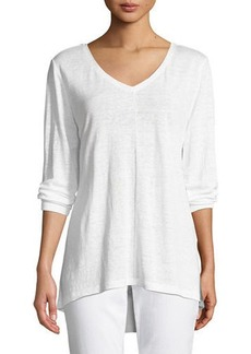 Eileen Fisher Organic Linen Jersey V-Neck Top