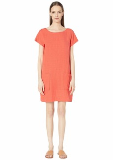 Eileen Fisher Organic Linen Tencel Crepe Bateau Neck Knee Length Dress