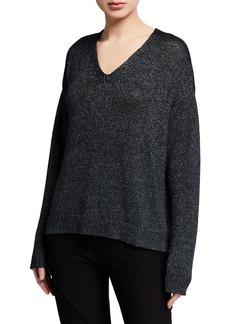 Eileen Fisher Organic Linen V-Neck Shimmer Sweater