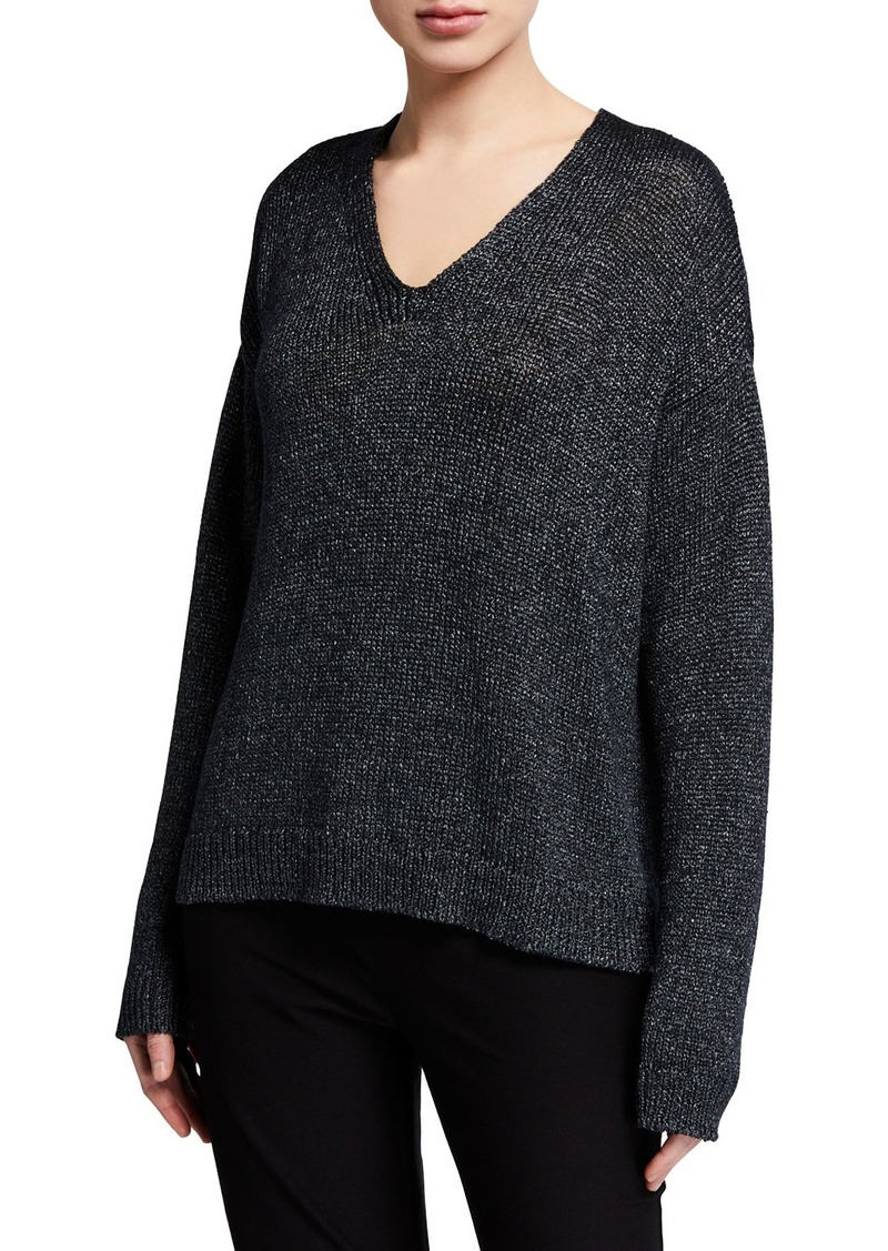 Eileen Fisher Organic Linen V-Neck Shimmer Sweater