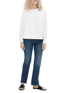 Eileen Fisher Organic Stretch Cotton High-Rise Straight-Leg Jeans